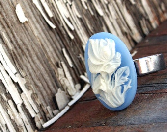 Cameo Ring, Blue Cameo with White Rose Design, Gothic Victorian Big Ring by Smash Gardens on Etsy