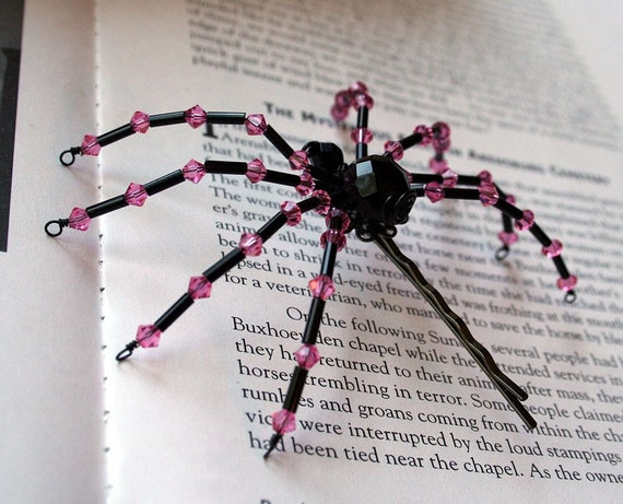 Gothic Spider Hair Pin, Black and Rose Pink Crystal Beaded by Jenifersfamilyjewels on Etsy