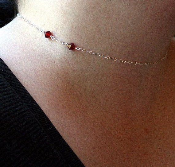Once Bitten - Vampire Bite Choker Necklace in Sterling Silver and Swarovski Crystal