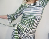 Summer SALE- Let the Day Begin - iheartfink Handmade Hand Printed Plaid Dress with Sash