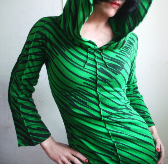 Cool Part of Town - iheartfink Handmade Hand Printed Womens Artistic Striped Hooded Top