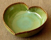 Spring Green Ceramic Heart Dish - 3 1\/4 inches