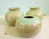 3 small green vases for tiny flower arrangements