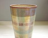 plaid pottery tumbler