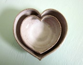 nesting heart bowls white - 3 1/2 inches