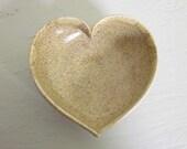 oatmeal ceramic heart bowl  - 3 1/2 inches