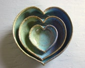 pottery heart bowls nesting dishes  4 inches