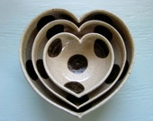 nesting ceramic heart bowls - polka dotted -  4 inches