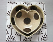nesting ceramic heart bowls - polka dotted - 3 1/2 inches