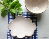 small ceramic bowl with cloud coaster white pottery- MADE TO ORDER
