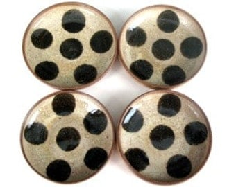 4 Dark Dotted small dishes - made to order
