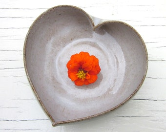 heart bowl white ceramic pottery 4 inches