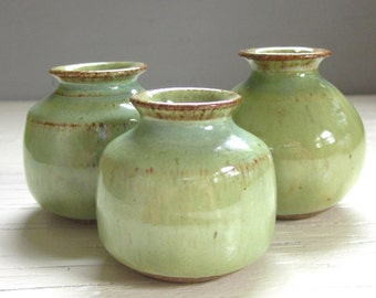 3 little rustic pottery vases perfect for your windowsill ceramic green    hostess gift