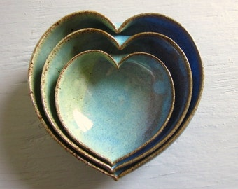 Mother's Day Gift Idea - pottery heart bowls - wheel thrown pottery - 4 inches