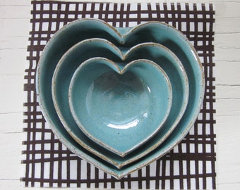 nesting pottery heart bowls 3 1/2 inches - robin's egg blue