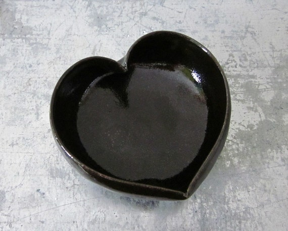 black ceramic heart bowl - 3 1/2 inches