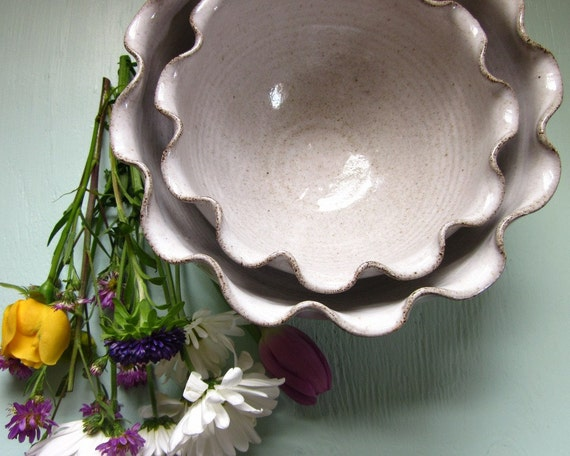 made to order - nesting ruffled bowls - 8 inches