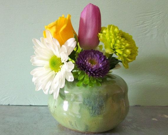 polka dot vase with flower frog