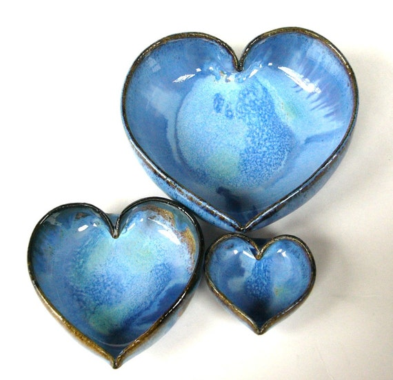 3 Miniature Nesting Heart Dishes....Kickapoo Blue......Handmade.......Wheel thrown
