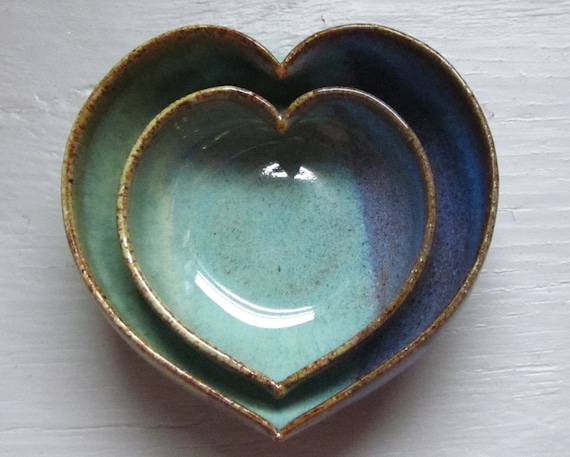 nesting heart bowls two nesting heart pottery ceramic miniature 3 1/2 inches