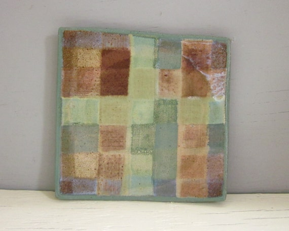 small square plate plaid green brown 6 inches