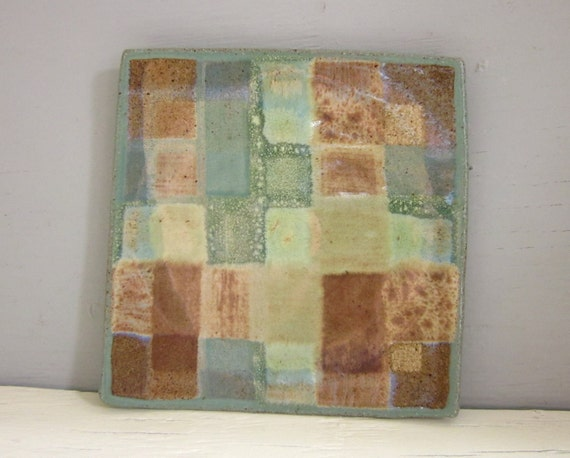 small ceramic plate plaid green brown 6 inches square pottery - ready to ship
