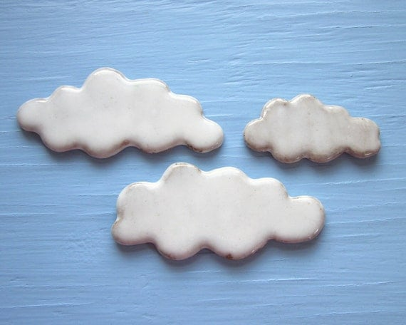 3 cloud magnets made of clay
