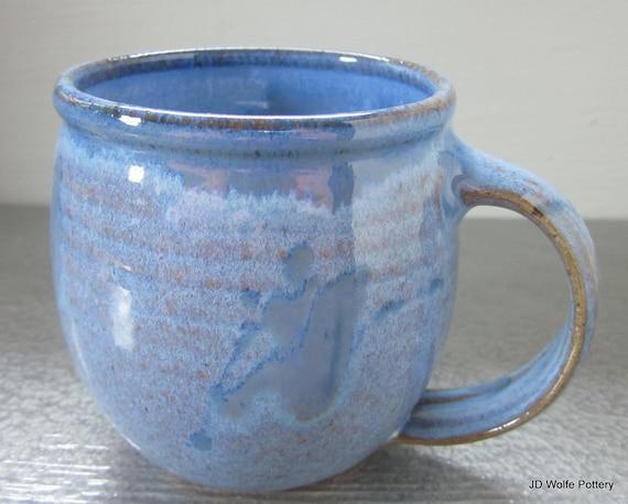 blue coffee mug  small ceramic pottery 14 oz - ready to ship