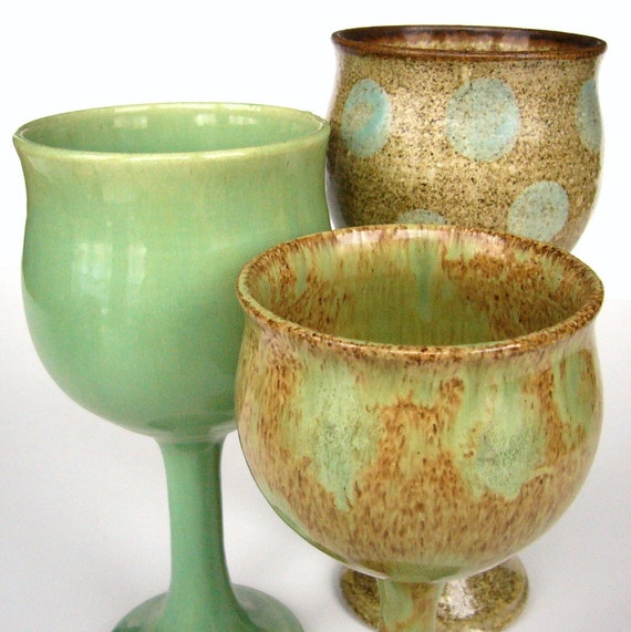 3 Goblets ... SALE ... marked 75 percent off