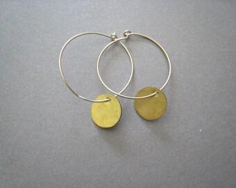 Tiny Brass Hoop Earrings