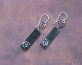 Sterling Silver Rectangle Swirl Earrings