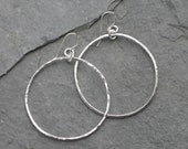 Ginormous Sterling Silver Hammered Hoop Earrings - A Whole Lotta Karma