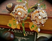 Textile Lace Earrings Dilara Romantic and Dancing  Silver, Pearl Elegance,Dangling, Unique, OOAK, Crochet,  Sensual, Mother gift, Bridesmaids, Embellished, Ivory