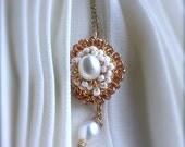 Romantic Crochet Wire Wrap Pendant Sultana Yasen Topaz, Amber, Pearl, Gold Bride, Bridesmaids, Proms Celebrations, Lacey Lace