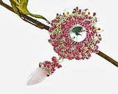 Carnation Hand crocheted Silver Lace Brooch Pink Quartz and Freshwater pearls-Vintage Rhinestone Pendant