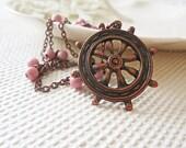 Nautical Pendant - Copper Chain - Sailor Ship Wheel Necklace Vintage Opaque Nude Pink Stone