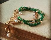 Green Bridal Bracelet for Spring Weddings - Pearl Jade Gold Rhinestone  Chunky Wedding Bracelet -Bridesmaids Gift