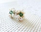 Pearl Stud Wedding Earrings - Bridal Pearl Studs - Pearl Crystal Post - Floral wedding Studs Mint Ivory White