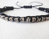Bridesmaid Rhinestone, Macrame Bead Bracelet, Wedding Rhinestone Bracelet, Black
