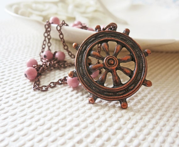 Nautical Pendant - Copper Chain - Sailor Ship Wheel Necklace Vintage Opaque Nude Pink Stone