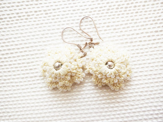 Ivory Dangle Earrings Floral Silver with Silver Balls-Nautical