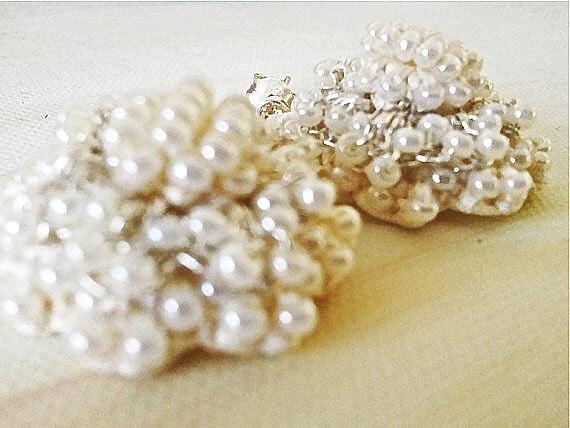 Crystal Post Earrings, Ivory Earrings, Vintage Style Wedding Jewelry, Bridal Pearl Earring, Little Sweet Puffy Lace