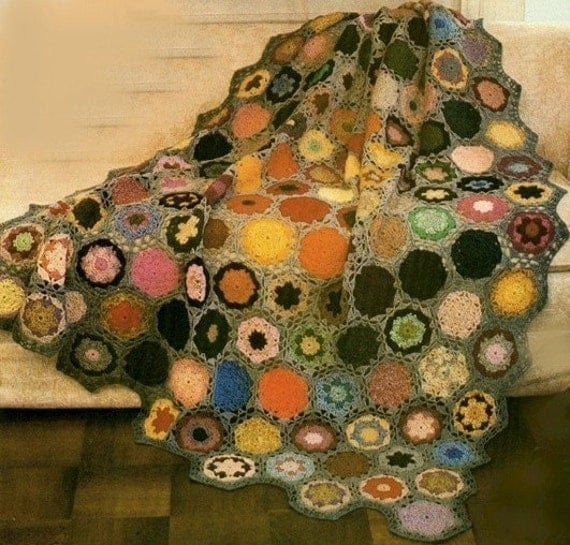 BOHO Crochet Pattern-- Colorful Flower Garden--Granny Afghan --PDF Email Delivery