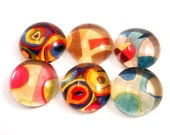 Colorful Abstract. Six Handmade Glass Cabochons Decoupaged with recycled papers for your projects