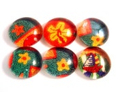 Beach. Six Handmade Glass Cabochons Decoupaged with recycled papers for your projects