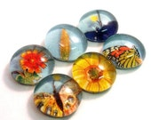 Warm Spring. Six Handmade Glass Cabochons Decoupaged with recycled papers for your projects