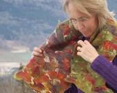Nunofelt felted scarf  'Fall flower fantasy'