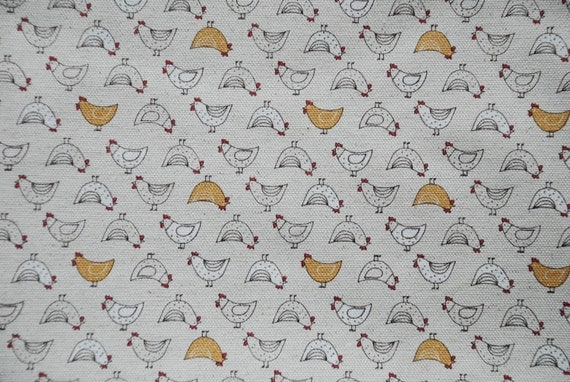 Roosters (Yellow) - Japanese Linen Blend Fabric