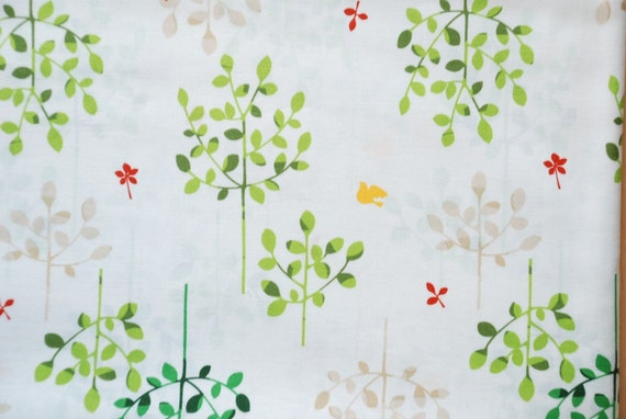 Trees and Birds (WIDE WIDTH) - Japanese Fabric