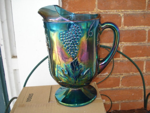Iridescent Blue Carnival Glass Pitcher